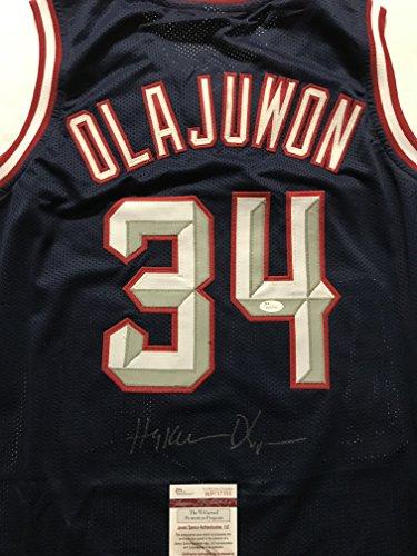 Autographed/Signed Hakeem Olajuwon Houston Blue Basketball Jersey JSA COA