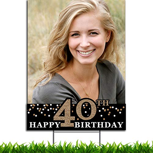 VIBE INK Custom Full Color Happy 40TH Birthday Portrait Plastic Yard Sign 18x24 with Metal H-Stake Stand - Great for Birthday Parties, Small Business, Arts 'n Crafts, Events, Real Estate and More!