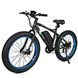 """ECOTRIC Fat Tire Electric Bike Beach Snow Bicycle 26"""" 4.0 inch Fat Tire ebike 500W 36V/12AH Electric Mountain Bicycle with Shimano 7 Speeds Lithium Battery Black/Orange/Blue"""