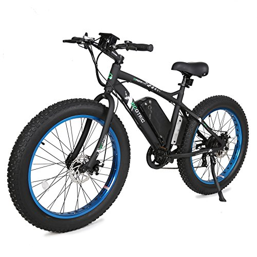 "ECOTRIC Fat Tire Electric Bike Beach Snow Bicycle 26"" 4.0 inch Fat Tire ebike 500W 36V/12AH Electric Mountain Bicycle with Shimano 7 Speeds Lithium Battery Black/Orange/Blue (Black/Blue)"