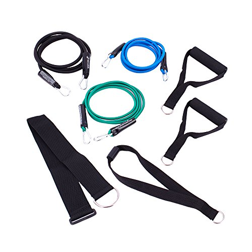 (SportCord Resistance Band Workout Set - 7-Piece Bungee Cord Fitness System for Home, Office & Travel - Low-Impact Physical Therapy Exercise Bands: Light, Medium & Heavy + Deluxe Handles & Door Anchor)