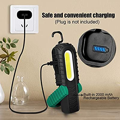 Household and Emergency Use 2 Pack VAVOFO 18 Portable COB LED Work Light 350 Lumens USB Rechargeable Work Lights with 360 Degree Magnetic Base for Car Repair Shock Vibration Shatter Resistant