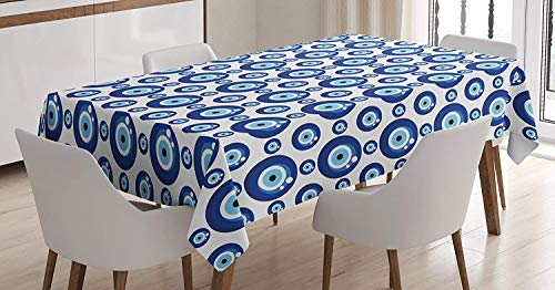 Evil Eye Tablecloth,Symmetrical Pattern All Seeing Eye Figures Superstitious Turkish Ethnic,Washable for Parties,61W X 100L Inch Blue White ()