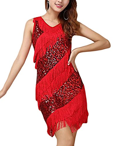[MFrannie Women's Fashion Sexy Latin Dance Sequins Sparkly Tassel Dress Costume Red] (Black Sparkly Dance Costumes)
