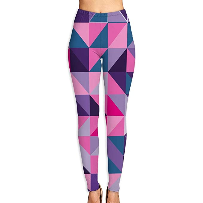 8266743714 CMEY Women's Yoga Pants Geometric Triangles High Waist Yoga Leggings  Workout Pants White