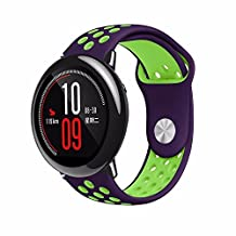 22mm Universal Smart Watch Bands, Soft Silicone Sport Quick Release Watch Strap Wristband for Pebble Time Steel/ Xiaomi Amazfit/ Samsung Gear S3 Frontier/Classic (Purple/Green)