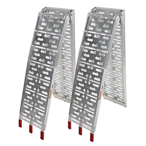 goodyusstore Durable and Lightweight, Stability, Security and Large Bearing Capacity, New 7.5 Ft Aluminum ATV Truck Loading Ramps, Arched Bi-Fold Ramps Pair