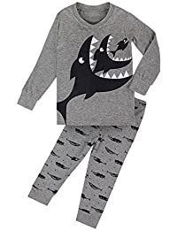 FANCYINN Little Boys Cute Dinosaur Pajamas Set Christmas Cotton Pjs Sleepwear 2 to 7
