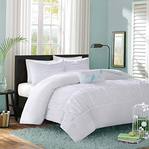 Kaputar Modern Cozy Ruffled Ruched Textured Pleated Teal Blue Girls Comforter Set | Model CMFRTRSTS - 2941 | Twin Extra Long