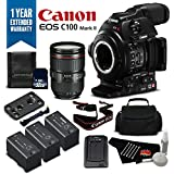 Canon EOS C100 Mark II Cinema Camera with Dual Pixel CMOS AF & EF 24-105mm f/4L IS II USM Zoom Lens Kit International Version (No Warranty)- Gold Plus Level Bundle