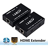 LinkS HDMI Extender(Transmitter&Receiver) over signle cat5e/6 Support 1080p 3D, HDMI 1.4a, HDCP, EDID, Up to 196ft(60m)