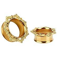 KUBOOZ Golden Stainless Steel Flesh Tunnels Ear Plugs Stretcher Expander Tunnels Gauges Piercing Jewelry