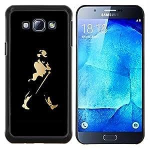 Johnny Walk Whisky- Metal de aluminio y de plástico duro Caja del teléfono - Negro - Samsung Galaxy A8 / SM-A800