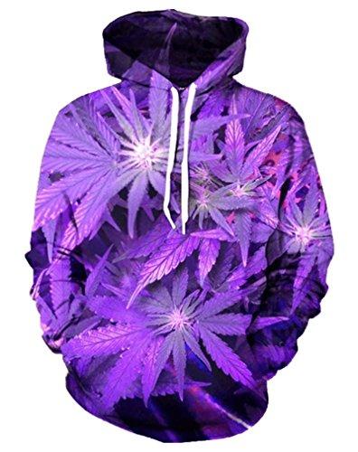 d Leaf 3D Print Hoodie Harajuku Marijuana Fashion Sweatshirt XXL ()