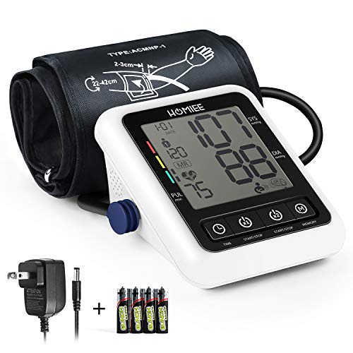 - Blood Pressure Monitor with AC Adapter, HOMIEE Upper Arm Blood Pressure Machine with AFIB Detection, 2 Users 240 Memories, 2.4