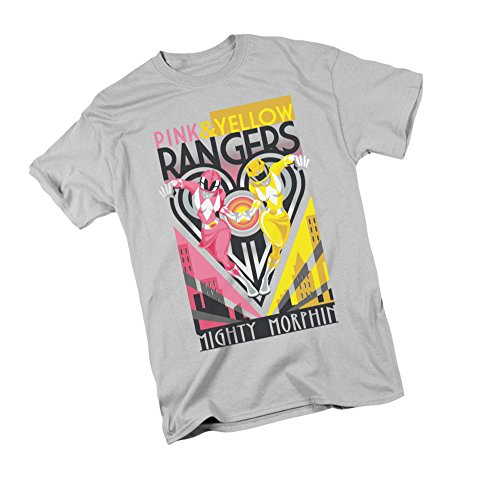 Pink & Yellow Rangers Deco -- Mighty Morphin Power Rangers Adult T-Shirt, Medium