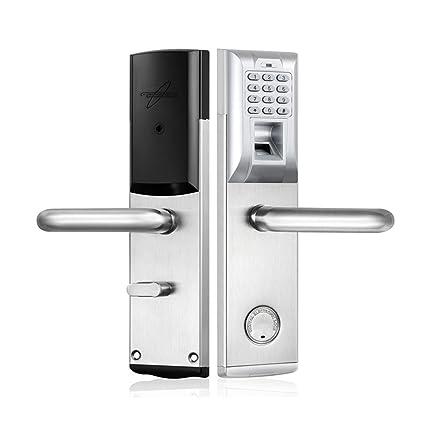 Electrónica biométrica Cerradura de puerta Contraseña de huella dactilar Clave mecánica código digital Cerradura keyless ,