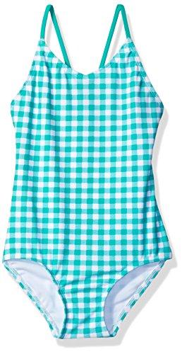 Kanu Surf Little Girls' Chloe Beach Sport 1-Piece Swimsuit, Lilly Green Check, -