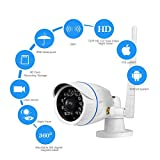 Boddenly HD WiFi IP Camera Network Cloud Camera Indoor/Outdoor Security Bullet Camera with Weatherproof IR LED Night Vision Plug & Play Monitor Support iOS Android Laptop PC