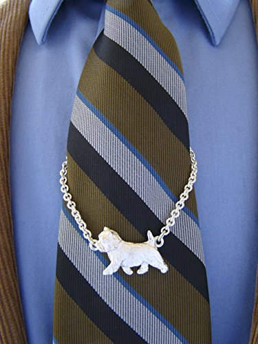 Small Sterling Silver Cairn Terrier Moving Study Tie Chain by Bestk9buds