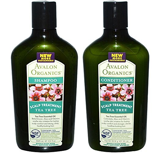 Avalon Organics All Natural Tea Tree Scalp Treatment Shampoo and Conditioner With Aloe, Lavender, Chamomile and Babassu Oil, Sulfate Free, Paraben Free, Cruelty Free and Vegan, 11 fl. oz. ()