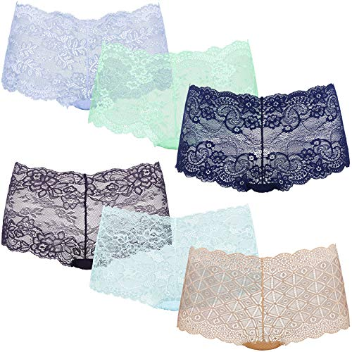 Curve Muse Women's Pack of 6 Comfort Sheer Lace Tanga Hipster Boyshorts Panties-Pack S-S
