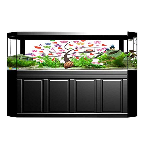 JiahongPan Background Poster Tree with Hearts and Family Swinging Ornamental Lines PVC Aquarium Decorative Paper L23.6 x H15.7