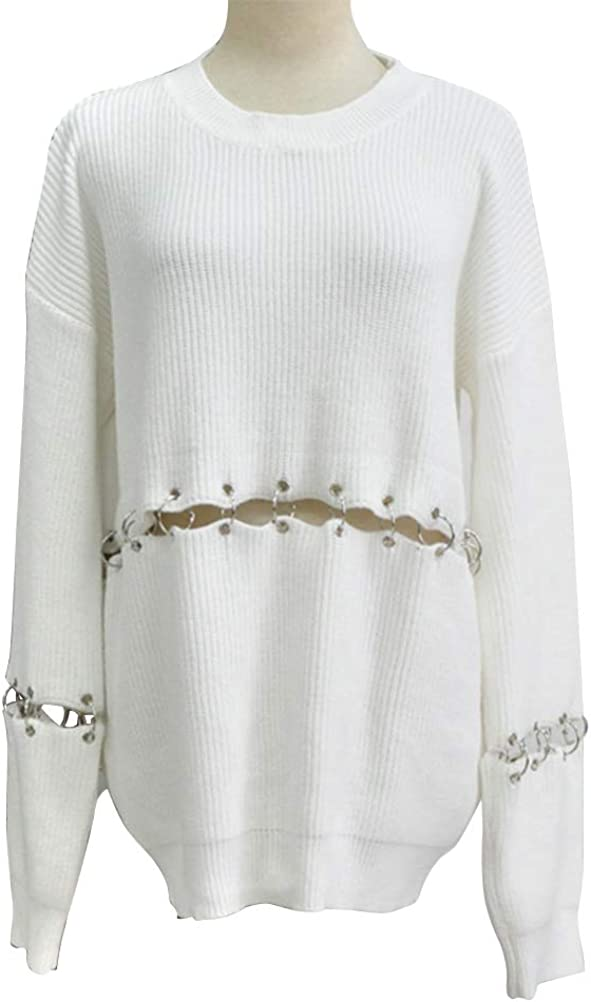CrazyTiger Womens Crewneck Stitching Hollow Out Knitted Solid Loose Fit Pullover Sweaters Casual