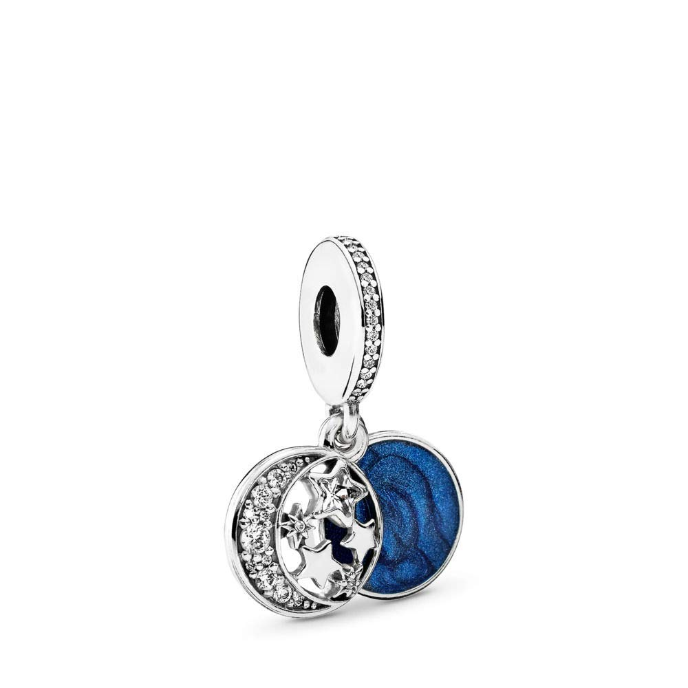 PANDORA Vintage Night Sky Dangle Charm, Sterling Silver, Shimmering Midnight Blue Enamel & Clear Cubic Zirconia, One Size by PANDORA