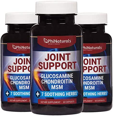 Glucosamine Chondroitin (Pack of 3) – MSM – Joint Supplements – Health Supplement – Joint Pain Relief – Improve Flexibility Joint Health – Made in USA with Turmeric Devils Claw Boswellia (60 Capsules)
