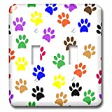 3dRose Sven Herkenrath Art - Colorful Paw Prints on White Background Trendy Work - Light Switch Covers - double toggle switch (lsp_280429_2)