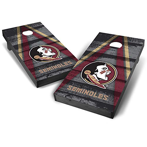 Wild Sports NCAA College Florida State Seminoles 2' x 4' Grey Authentic Cornhole Game Set - Vintage Triangle Design