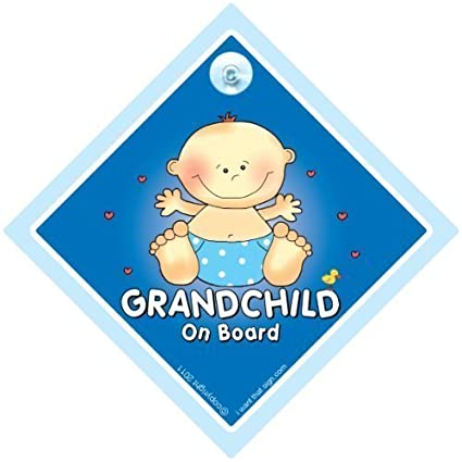 Baby On Board Car Sign, Grandson On Board Car Sign Grandchild On Board Sign
