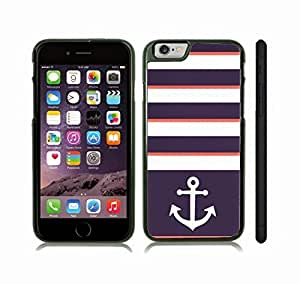 iStar Cases? iPhone 6 Plus Case with Chevron Pattern Blue Grape/ Pink Salmon Stripe White Anchor , Snap-on Cover, Hard Carrying Case (Black)