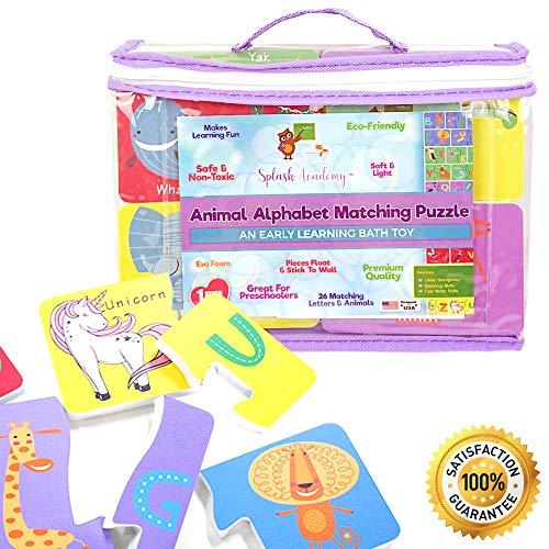 Foam Bath Letters Wet & Stick Educational Animal Alphabet Matching Puzzle Toy – Toddlers Kids Girls Boys – Safe Non Toxic Floating Bathtub Learning Set -- Includes Free Mesh Organizer ()