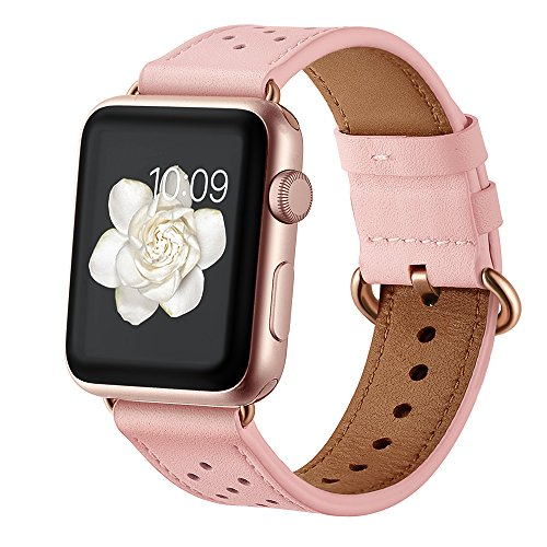 (Leather Band for Apple Watch 38mm 40mm,iwatch Series 4 3 2 1 Pink Replacement Strap with Rose Gold Stainless Steel Buckle Clasp)