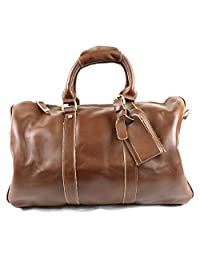 Genuine Leather Duffel Overnight Bag with Shoulder Strap - Travel Carry-On or Gym Luggage Tote