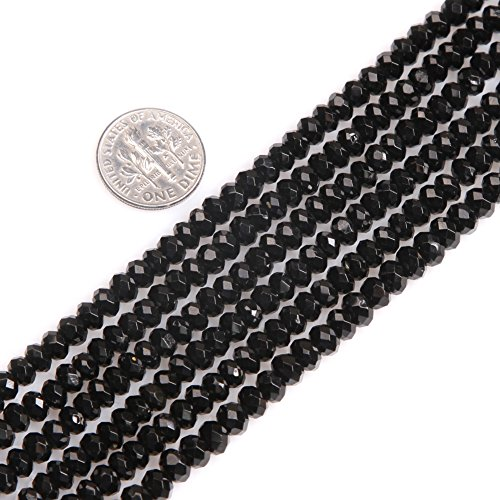 Gem-inside Black Spinel Gemstone Loose Spacer Beads Natural Faceted Rondelle 3X5mm Energy Stone Power for Jewelry Making 15'' (Bead Black Spinel Necklace)