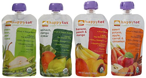 (Happy Tot Organic Superfoods Stage 4, 4.22 OZ Baby Food Pouches Variety Pack of 16 )