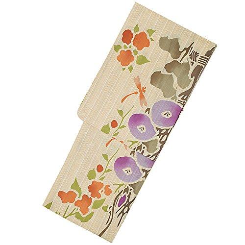 満たす擬人炭素[芸艸堂] 女性 浴衣セット 「オレンジ、紫 花とトンボ」荻野一水 注染