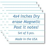 5-Pack Dry Erase Magnetic Notes / Notebook Design for Refrigerator. Perfect for To Do List or Daily Planner.