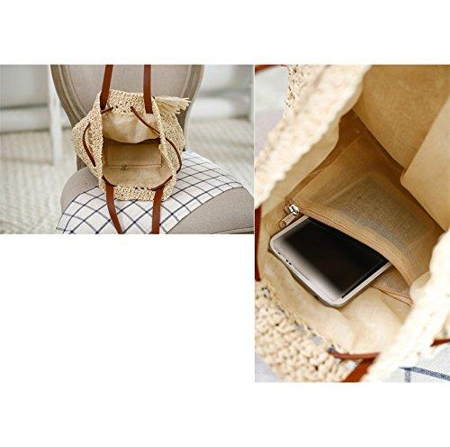 donne ragazze stile pastorale spiaggia bowknot coulisse sacchetto di spalla tote bag Borsa a tracolla Borse a mano, beige