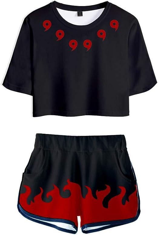 Akatsuki Outfits Naruto Cosplay Anime Print Crop Top T-Shirt Shorts Tracksuit