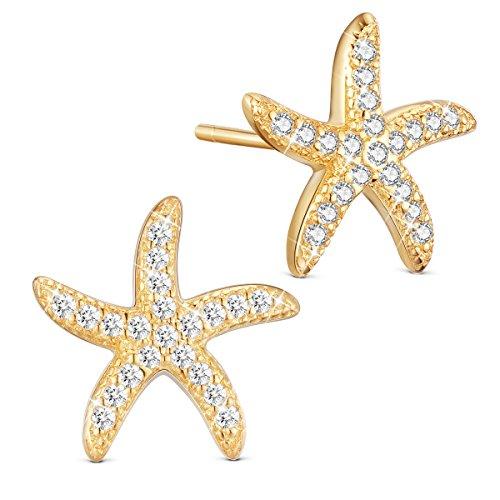 SHEGRACE S925 Sea Star Studs Sterling Silver Earrings, Micro Pave AAA Zircon Starfish