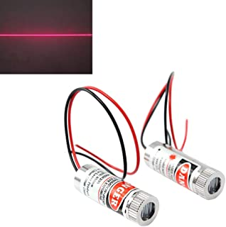 WayinTop 2pcs 650nm 5mW Focusable Focus Adjustable Lens Laser Red Line Diode Module 3-5V with Driver Plastic Lens (Line Laser)