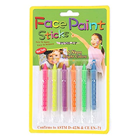 6Pc Face Body Painting Crayon Colour Kit Set Sticks Party Halloween Childrens (2) - 18 Ml Palette