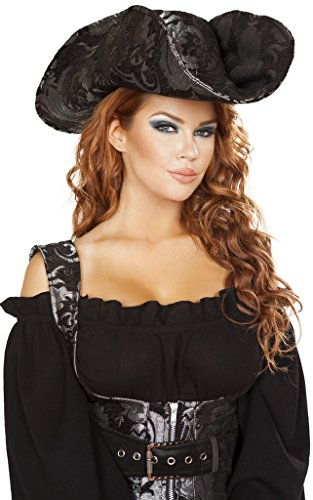 [Anne Bonny Pirate Hat - Silver/Black - One Size Fits Most] (Pirate Clothing And Accessories)