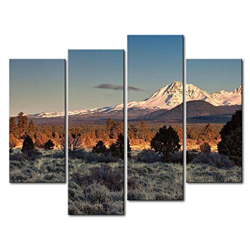 4 Panel Wall Art Painting Twin Sisters Mountains Oregon Moon Grassland Hill Snow Mountain Trees Prints On Canvas The Picture Landscape Pictures Oil For Home Modern Decoration Print Decor For Office