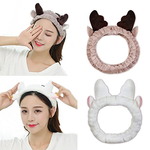KOOBA 2 Pack Cat Deer Cute Ears Headband, SoftElastic Hair Band, Washable Facial Band Makeup Wrap for Women Shower SPA Mask, Fits All Head Sizes (Brown & White)