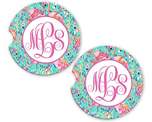 (BrownInnovativeMedia Aqua Pink Flamingos Personalized Monogram Sandstone Car Cup Holder Matching Coaster Set)